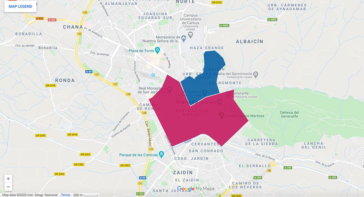 Granada area map