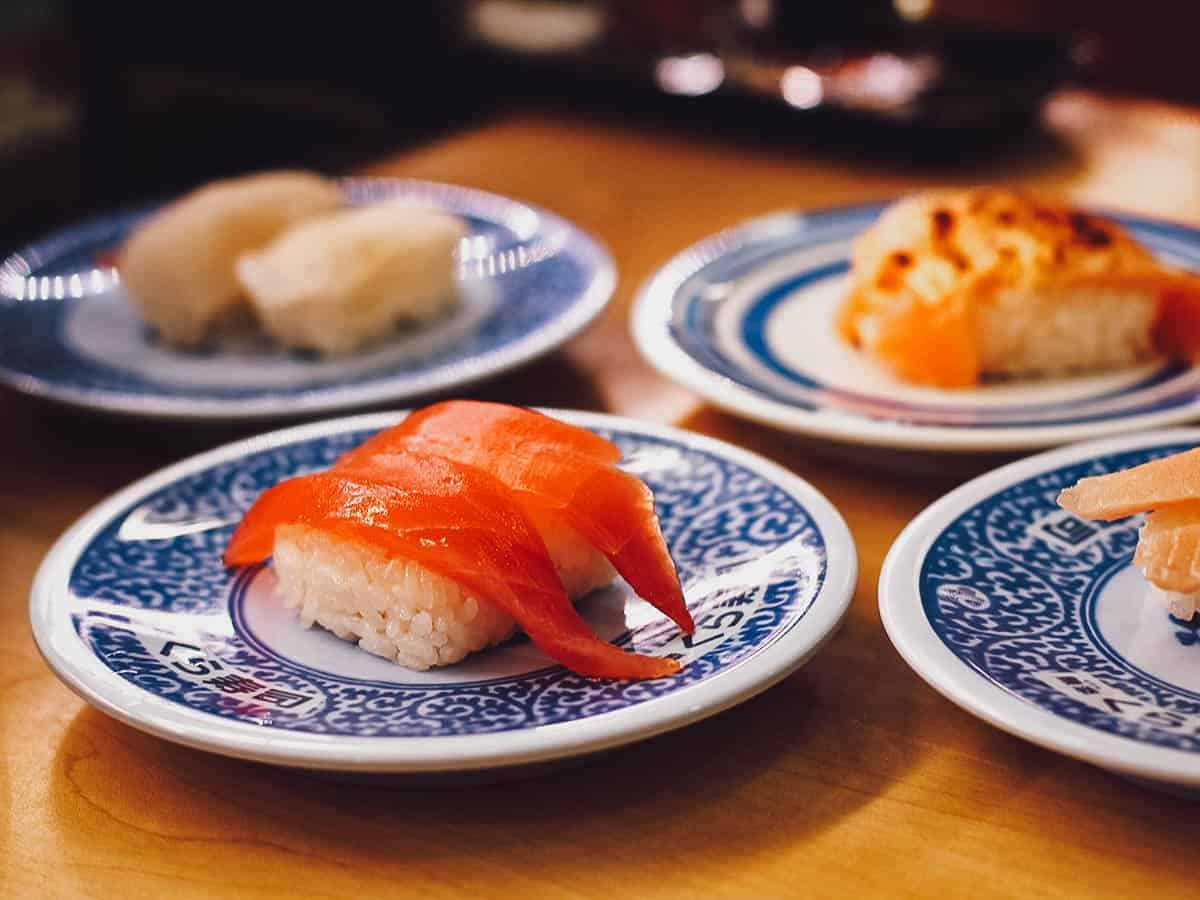 Plates of sushi at Kura