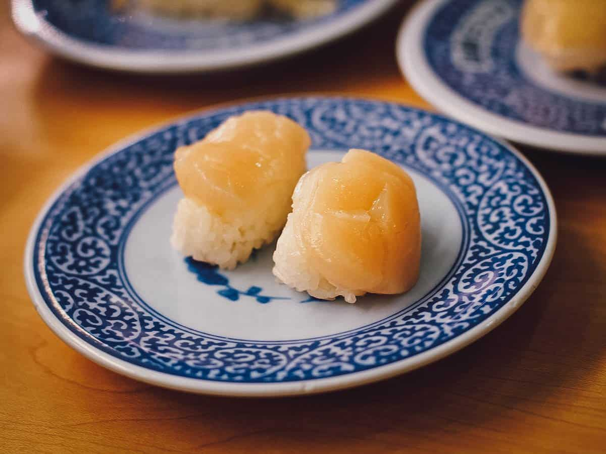 Plate of scallop sushi