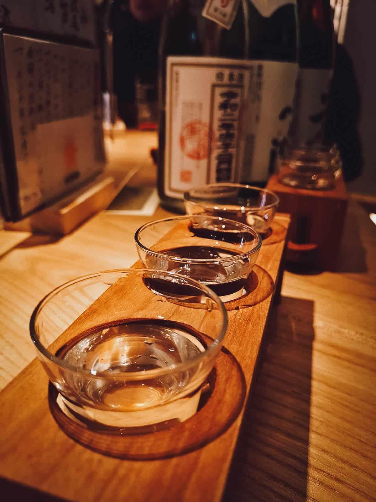 Glasses of sake