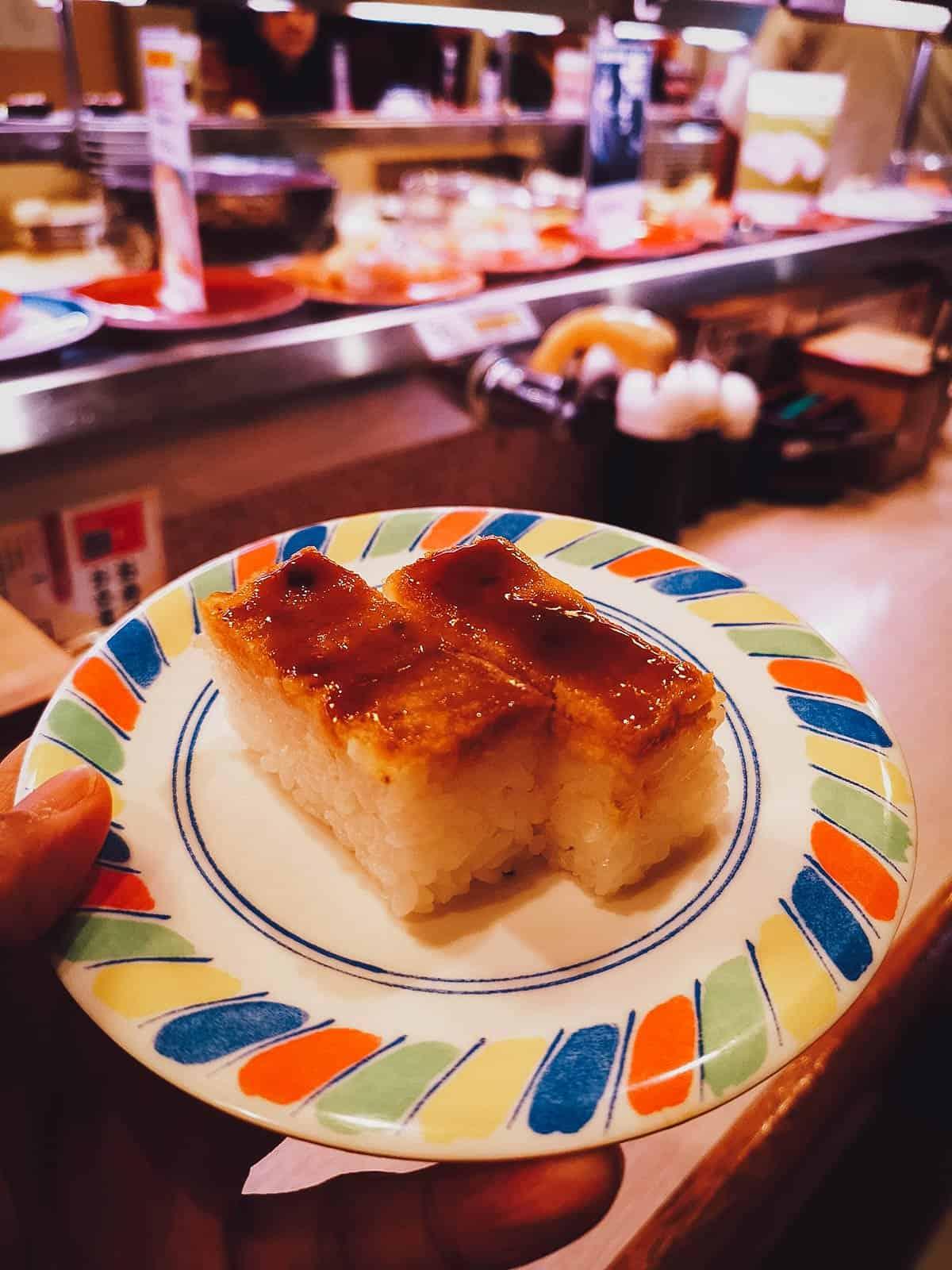 Oshizushi at a kaitenzushi restaurant