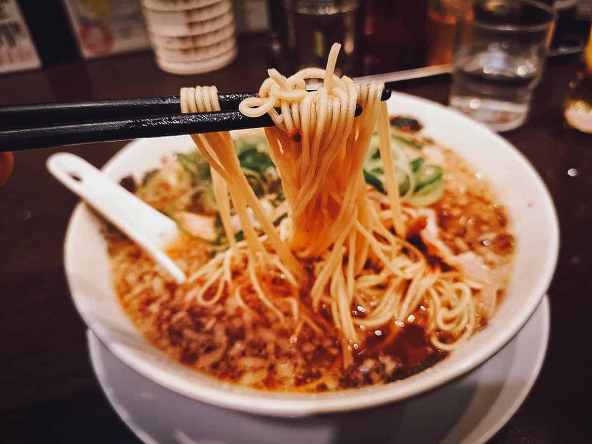 Picking up ramen noodles