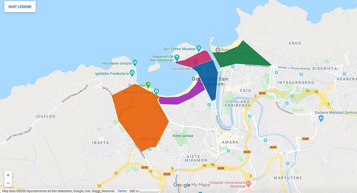 San Sebastian area map