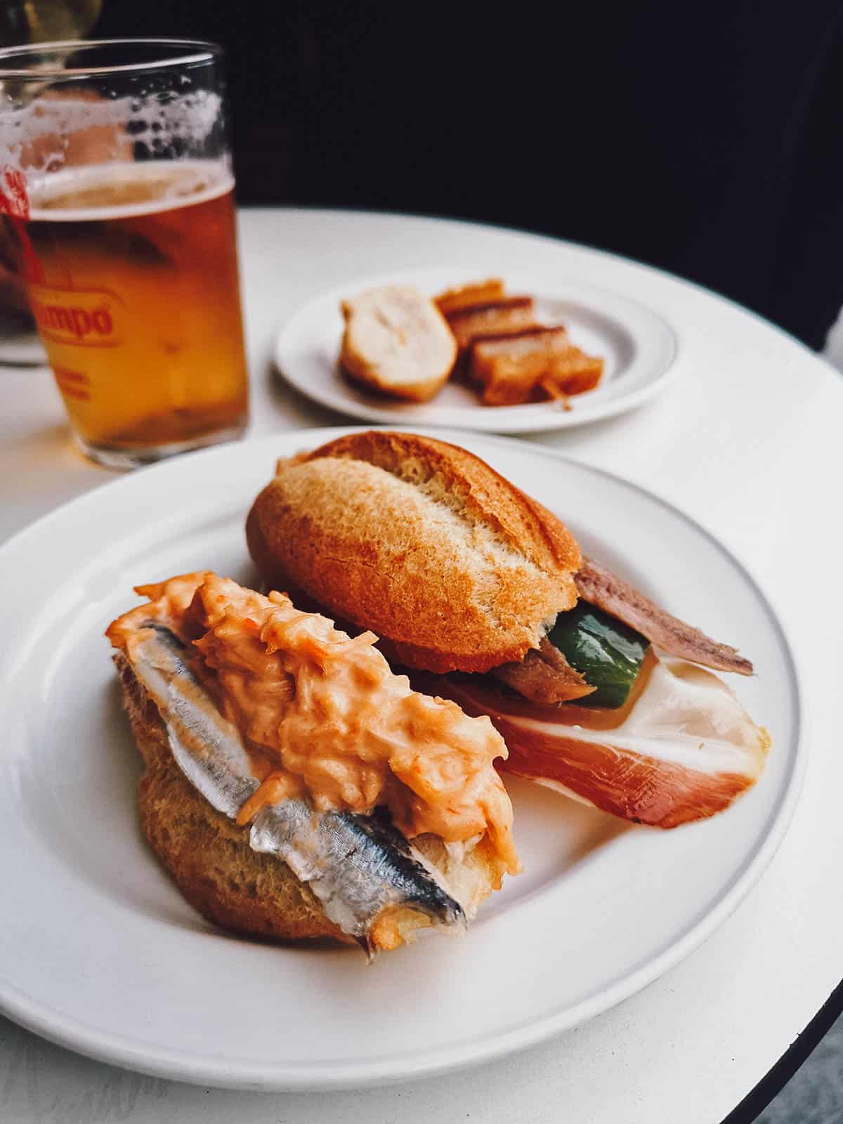 Pair of pintxos on a plate