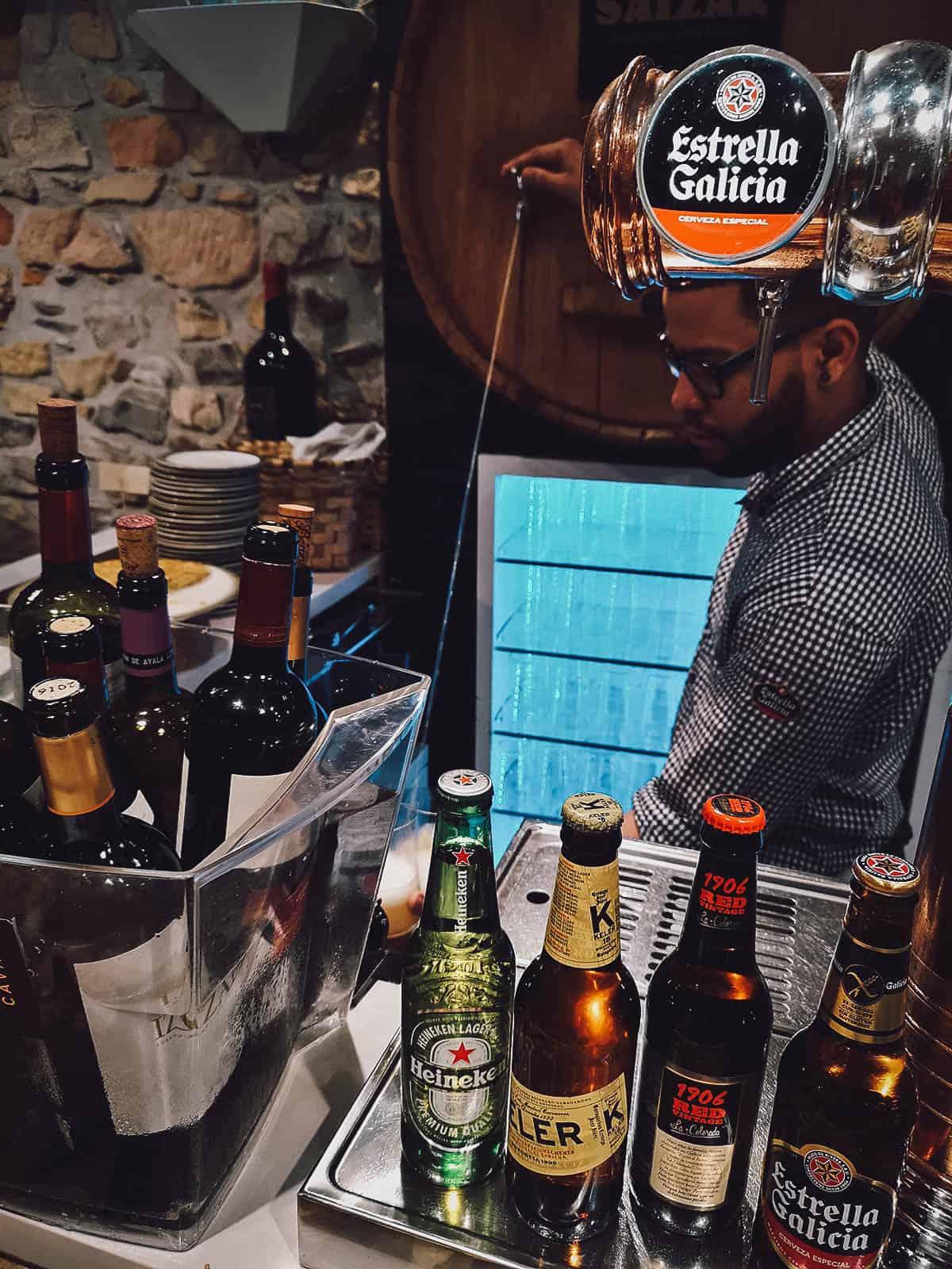Bartender pouring cider