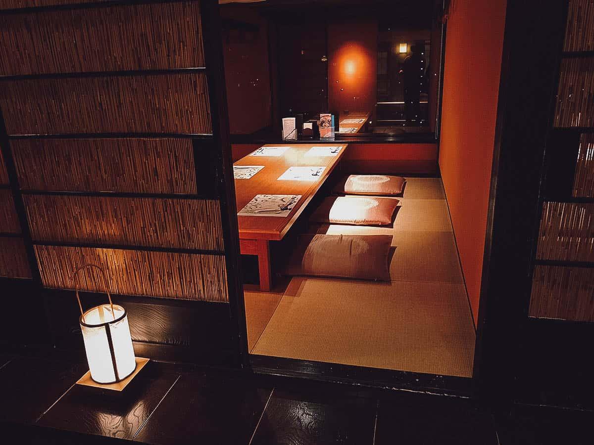 Dining room at Shogyotei