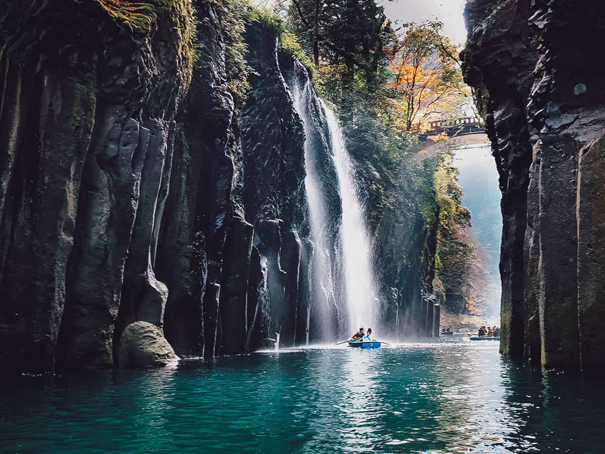 Boats near Manai Falls in Takachiho Gorge