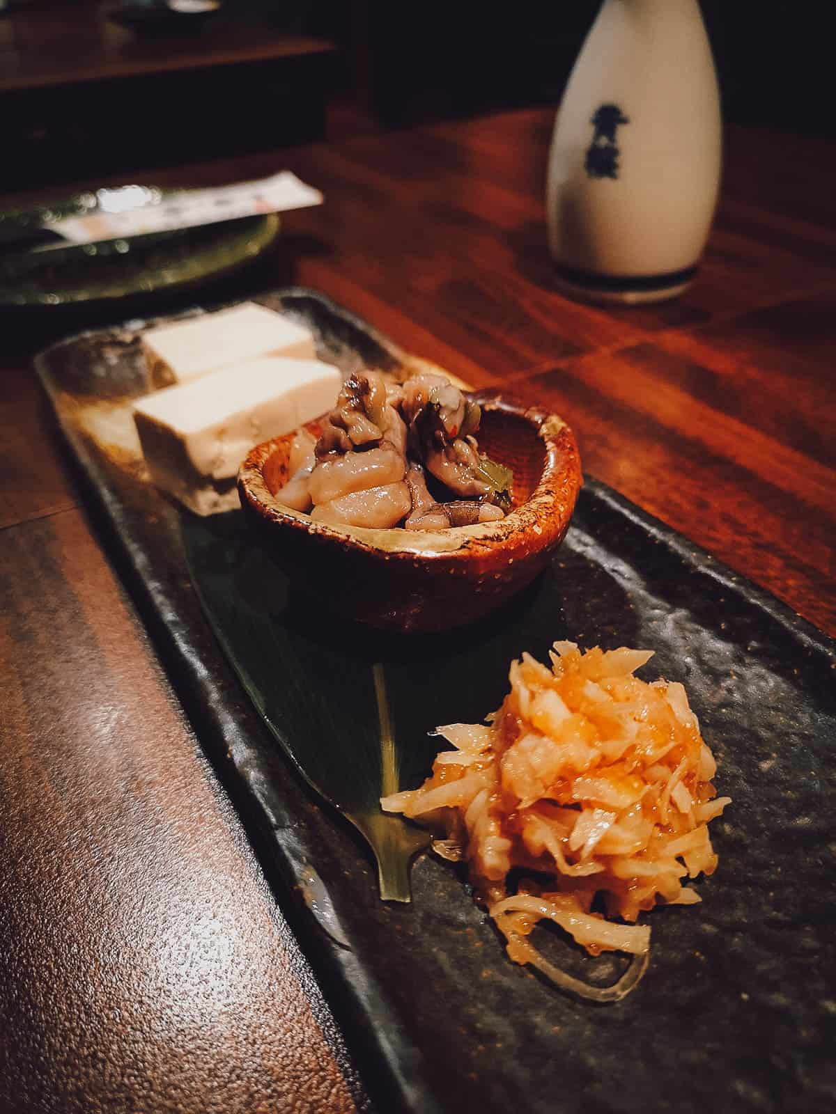 Trip of Japanese dishes
