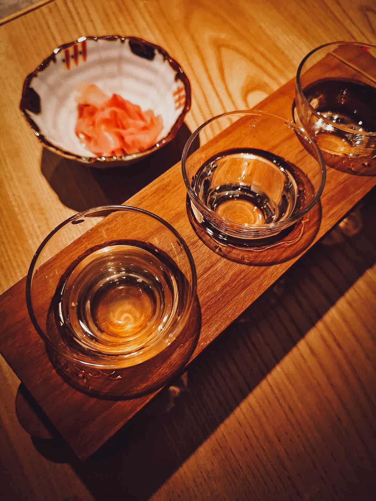 Flight of sake with gari or pickled ginger