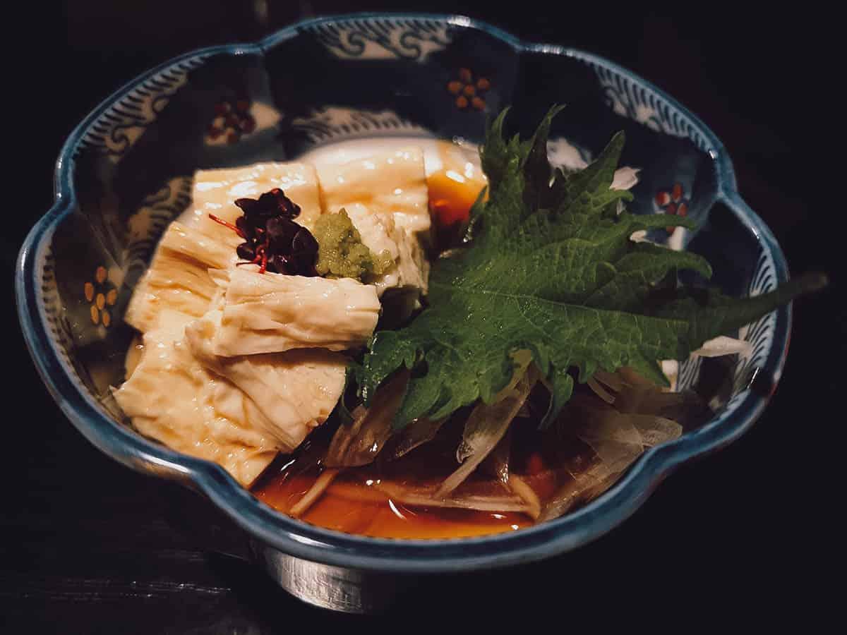Bowl of raw yuba