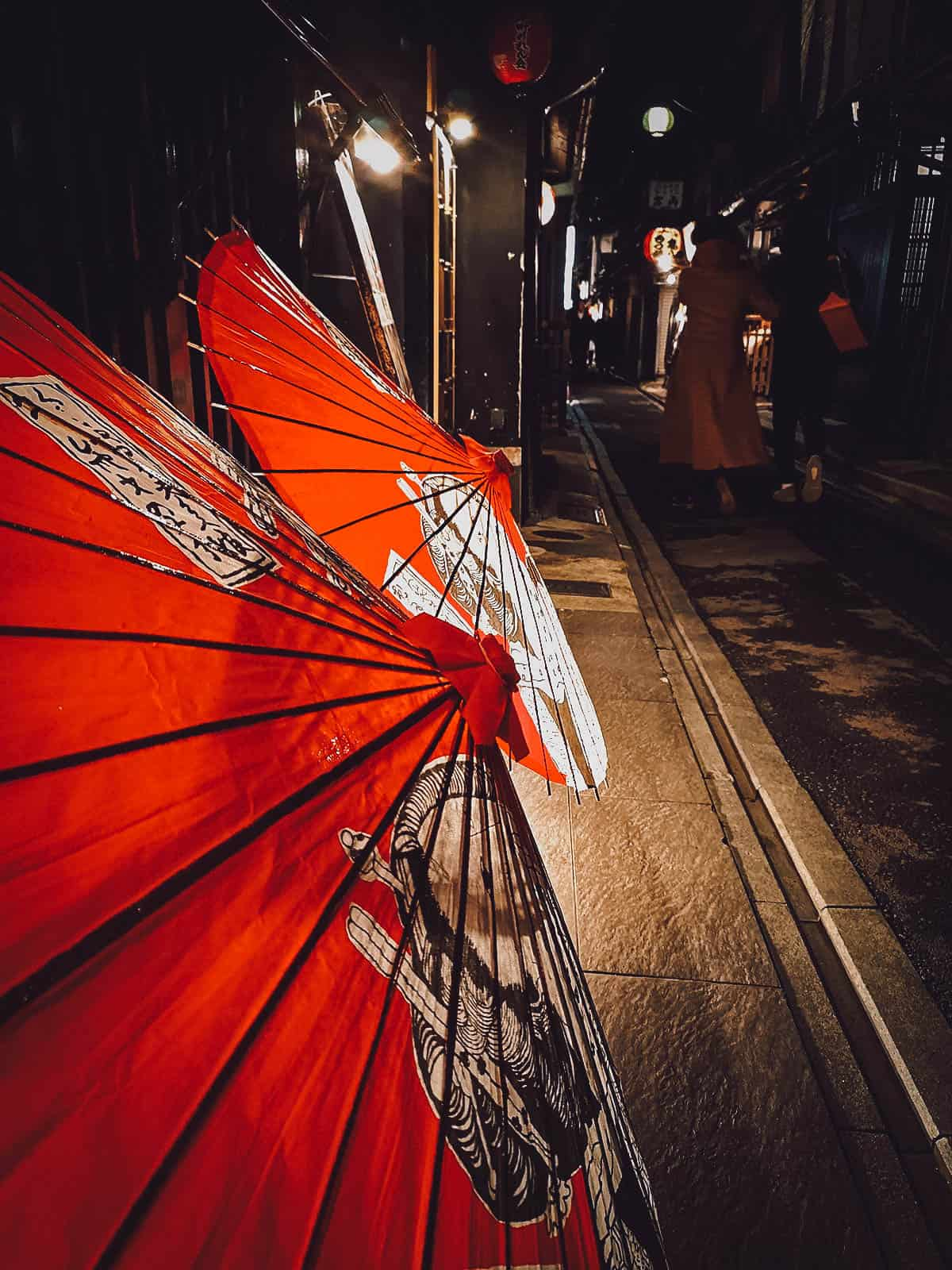 Traditional Japanese paper umbrellas