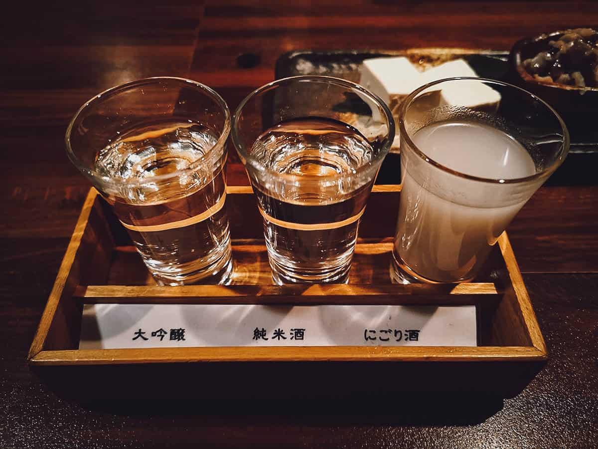 Flight of sake