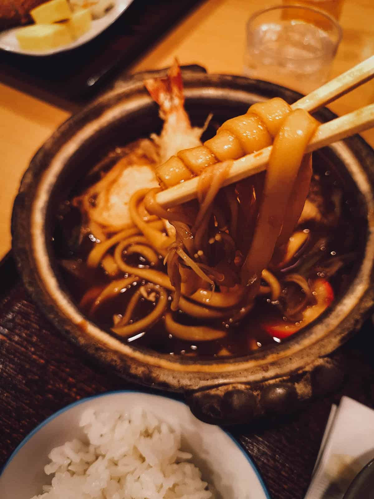 Close-up of udon noodles
