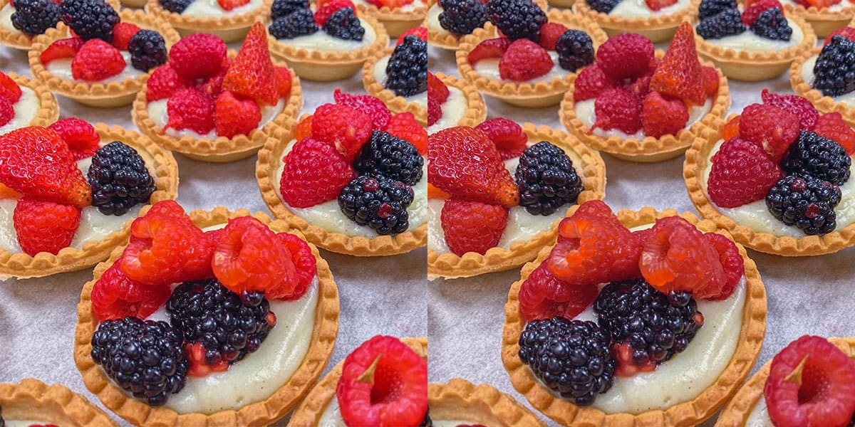 Before and after shots of berry tarts