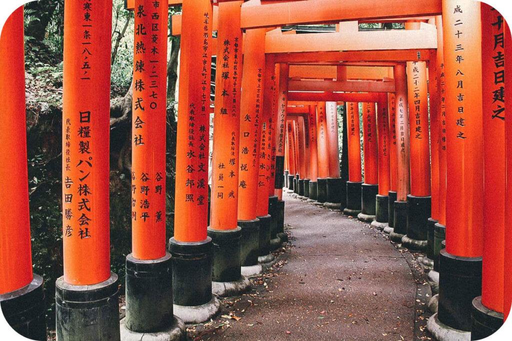 Torii gates at Fushimi Inari Shrine in Kyoto, Japan