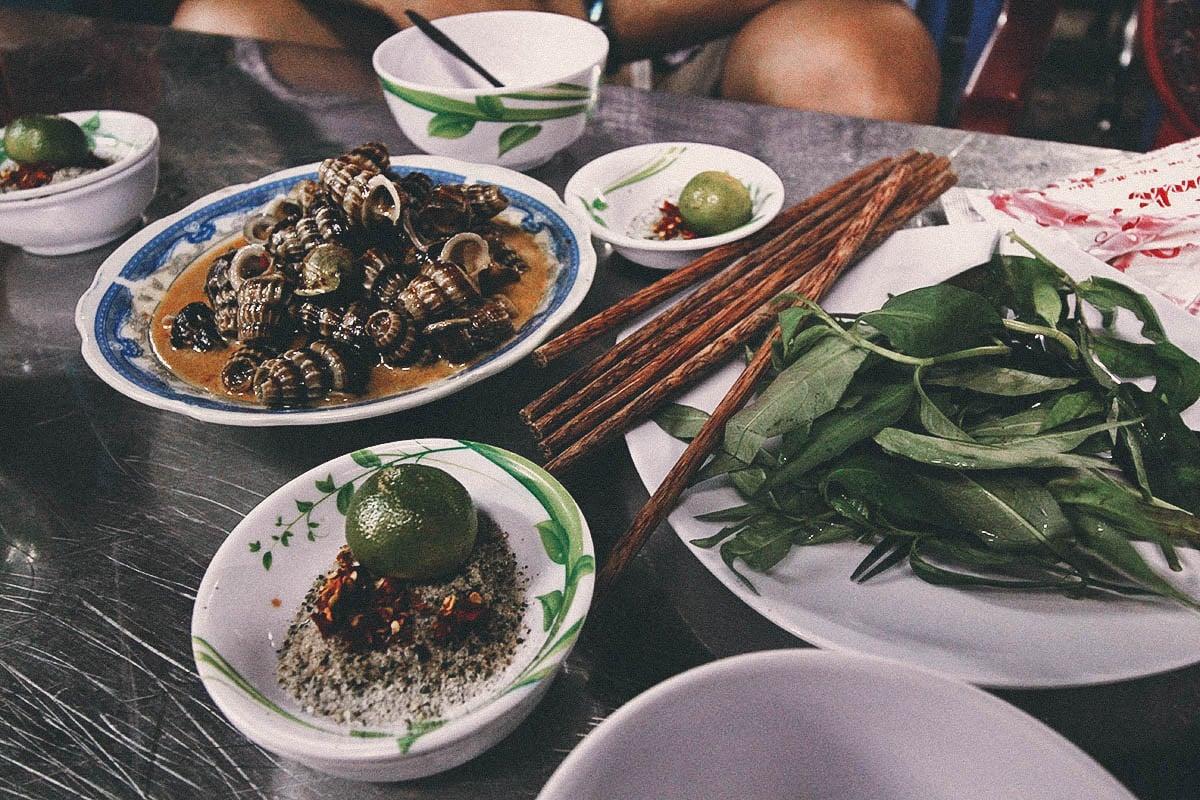 Snails at Oc Oanh along Vinh Khanh Street in Ho Chi Minh City