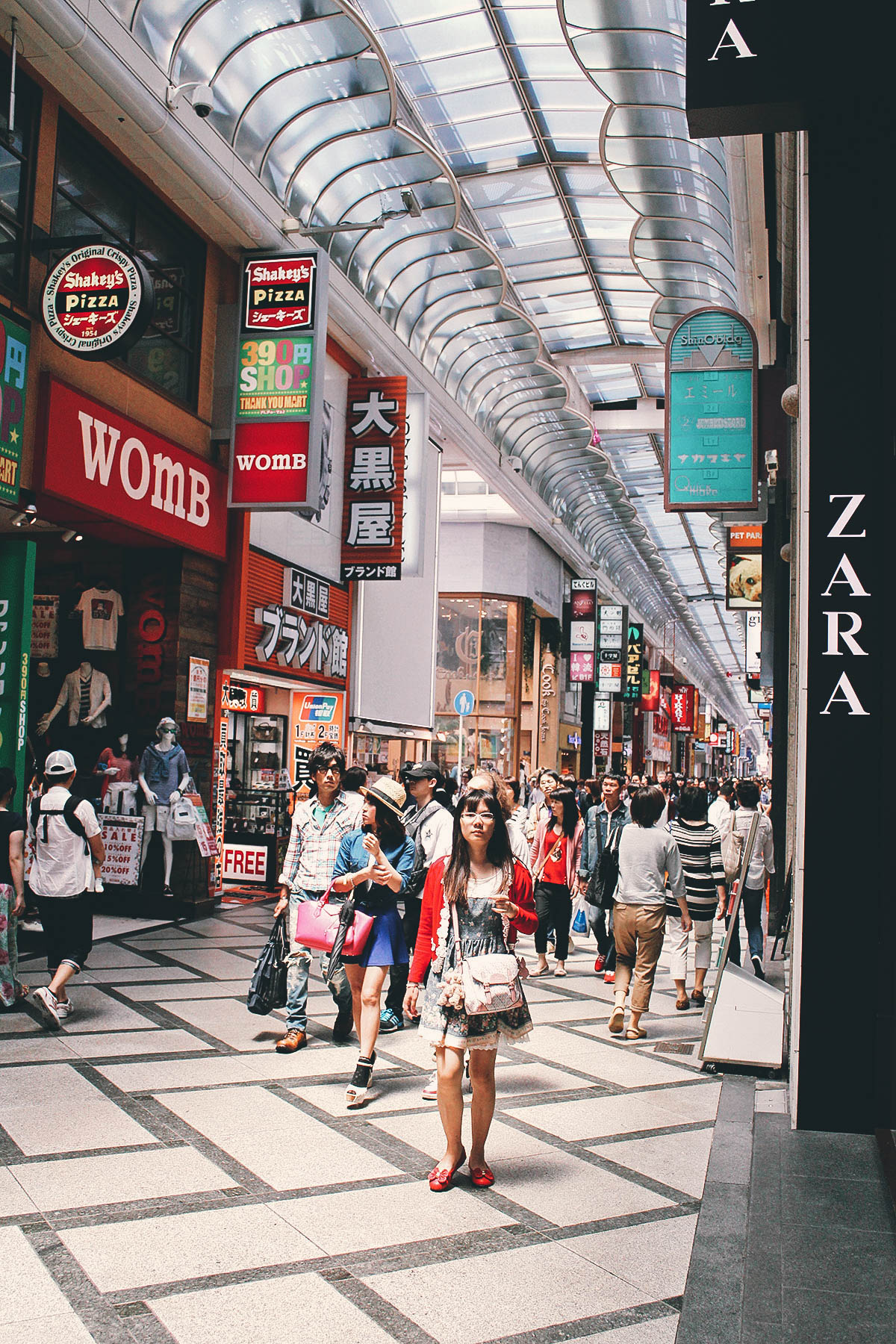Walking through Shinsaibashi shopping arcade