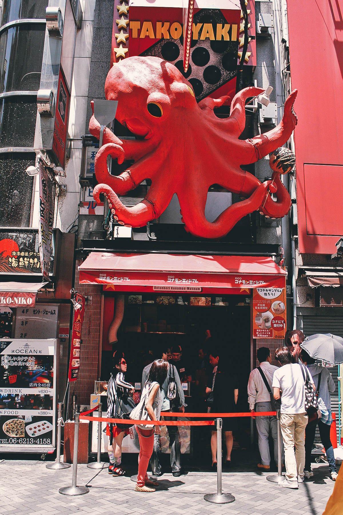 Takoyaki stand in Dotonbori, Osaka
