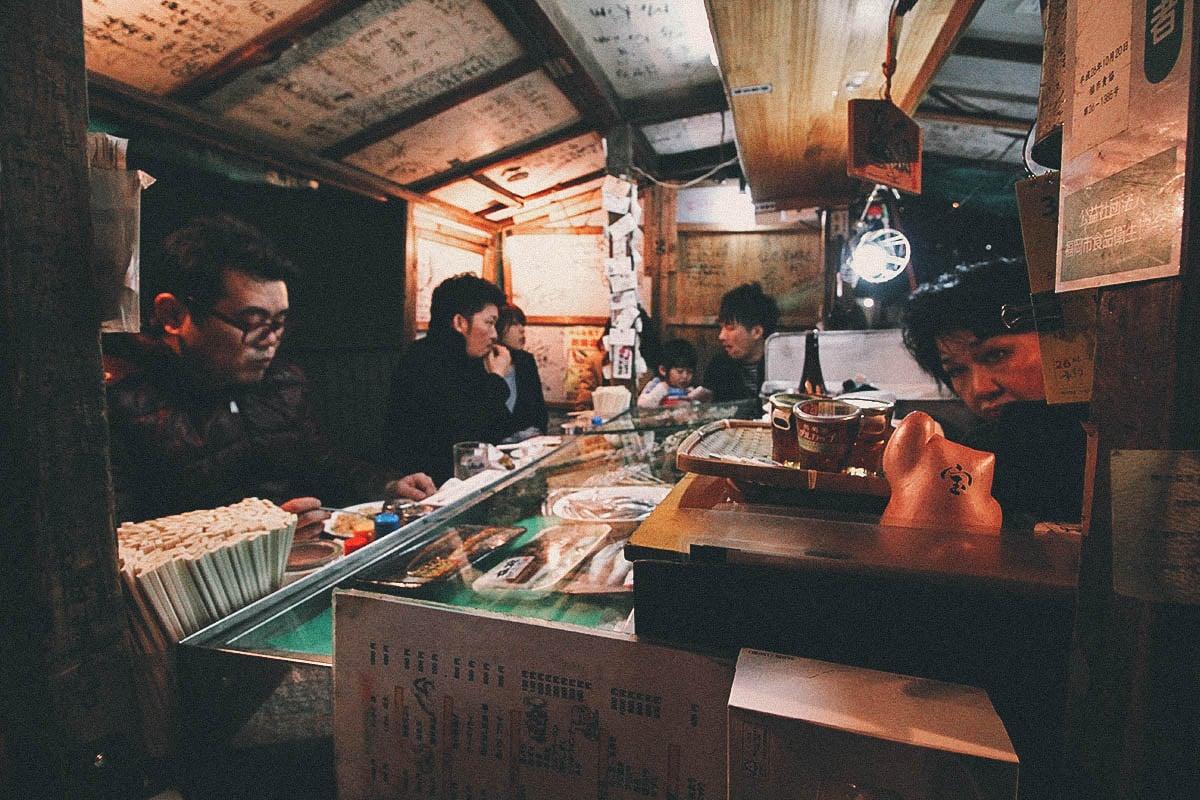 Inside a yatai stall in Fukuoka