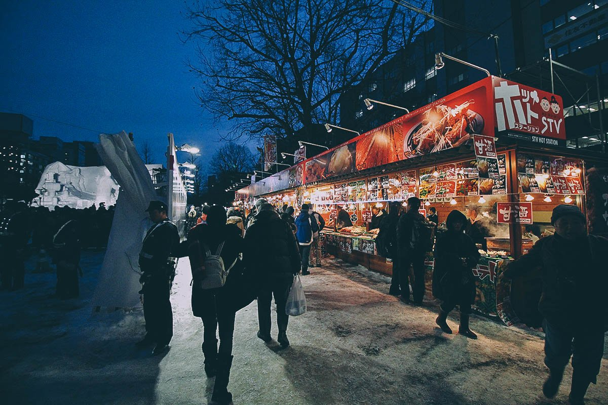 Food stands at the Sapporo Snow Festival