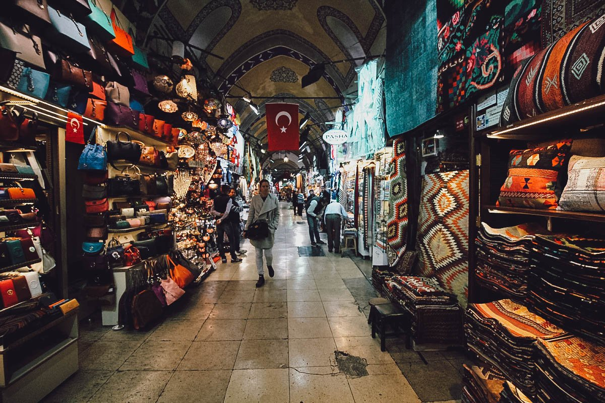 Wares for sale at the Grand Bazaar in Istanbul, Turkey