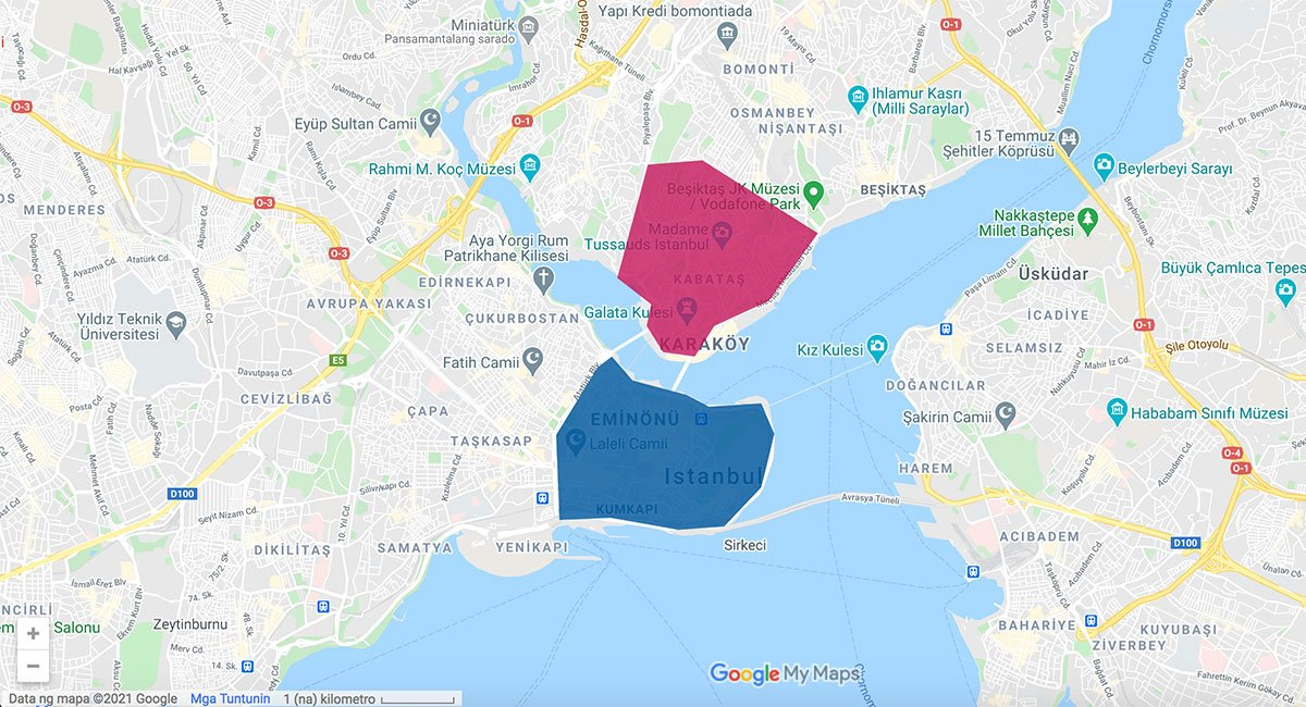 Istanbul area map