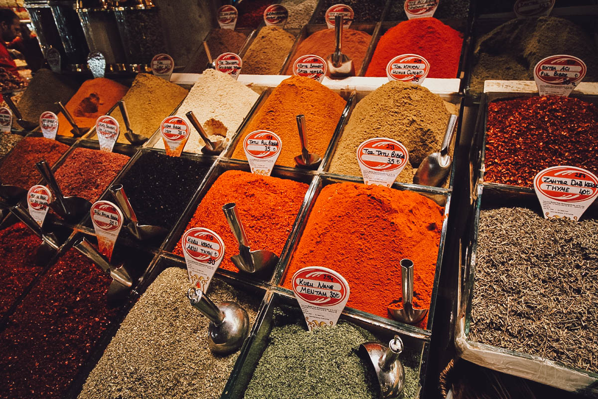 Spices for sale at the Egyptian Spice Bazaar in Istanbul, Turkey