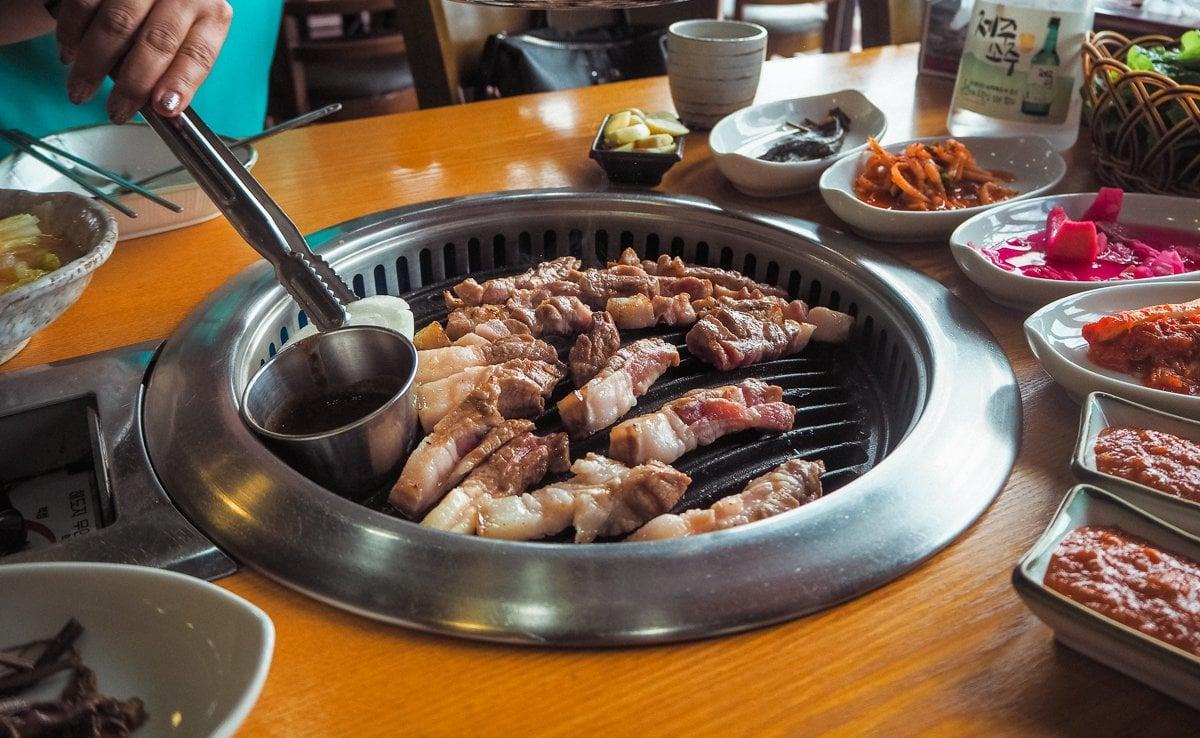 Grilling black pork