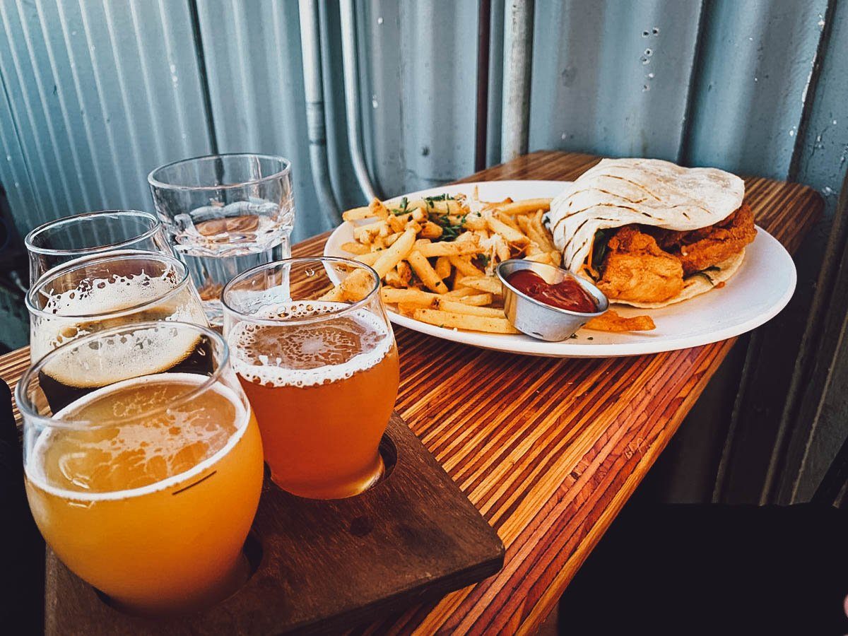 Craft beer with fish tacos