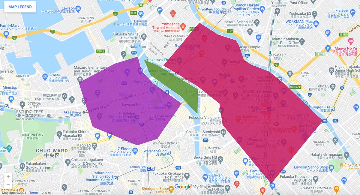Fukuoka area map
