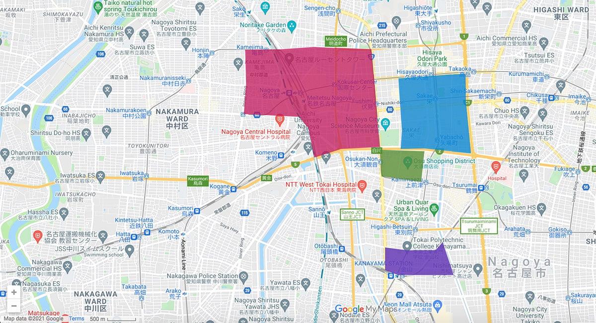 Nagoya area map