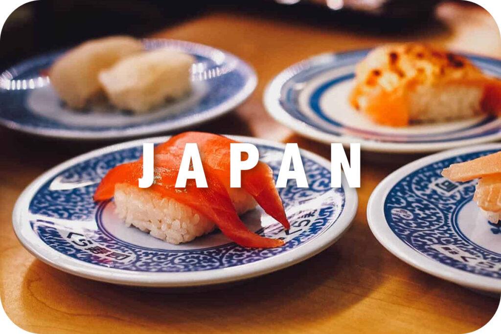 Plates of sushi