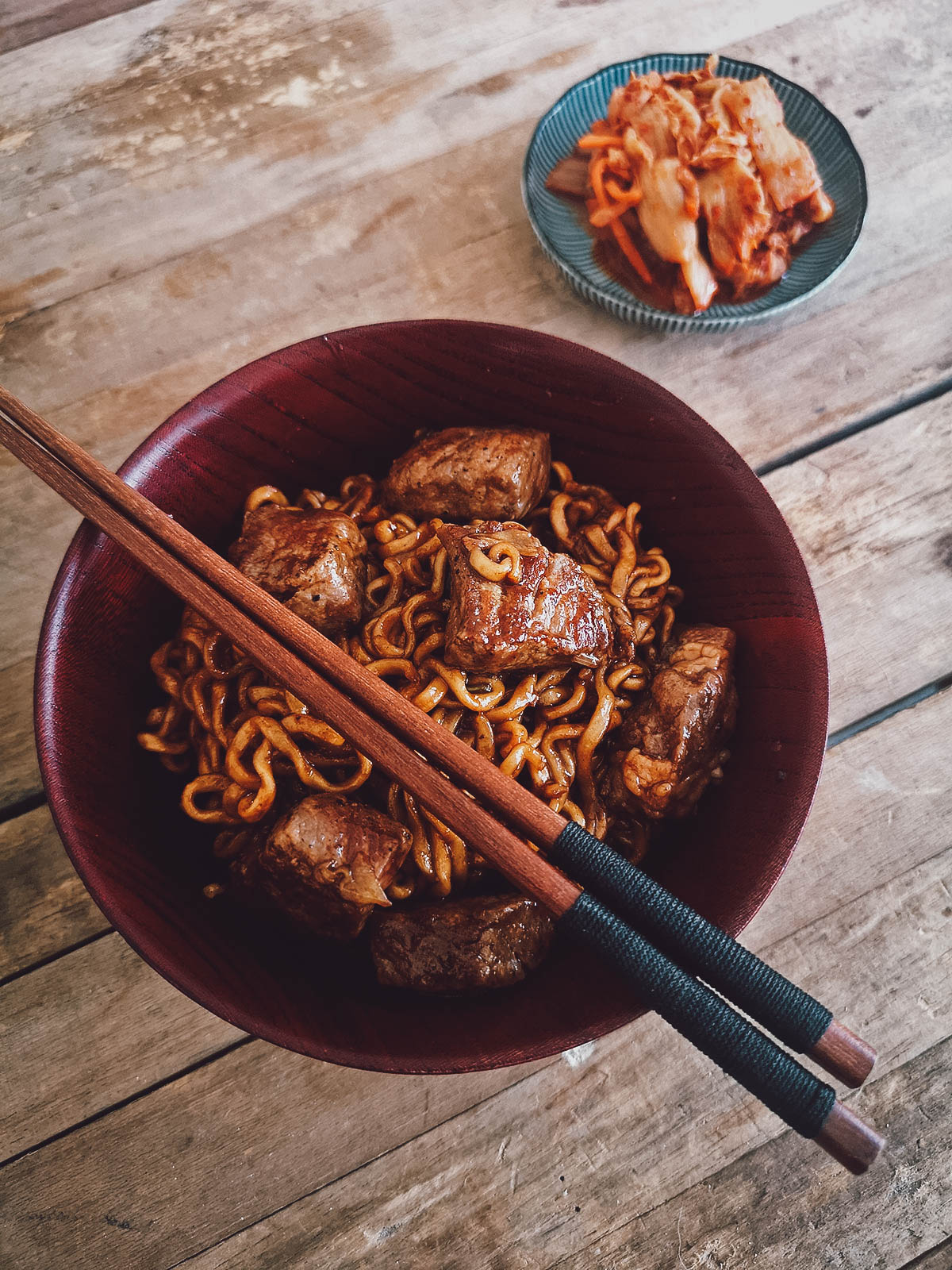 Bowl of ram-don with kimchi
