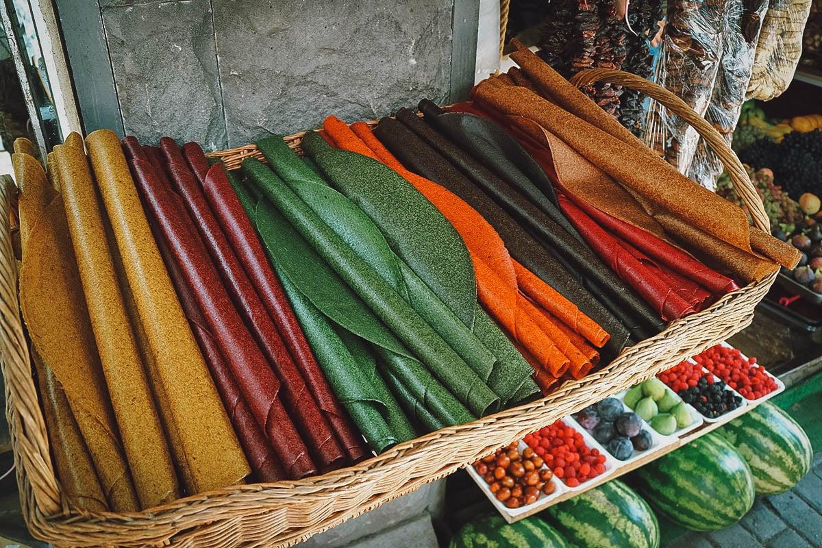 Rolls of t'tu Lavash at the market