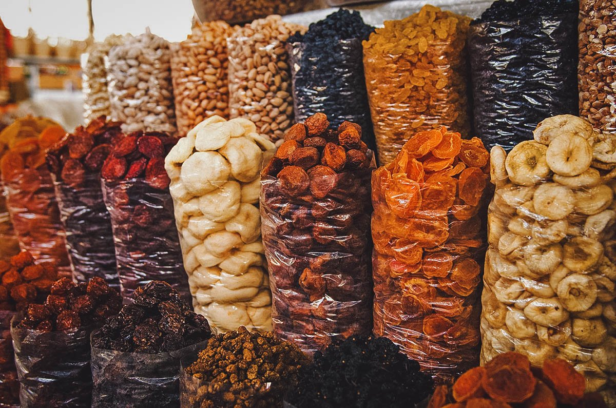 Bags of dried fruit at the market