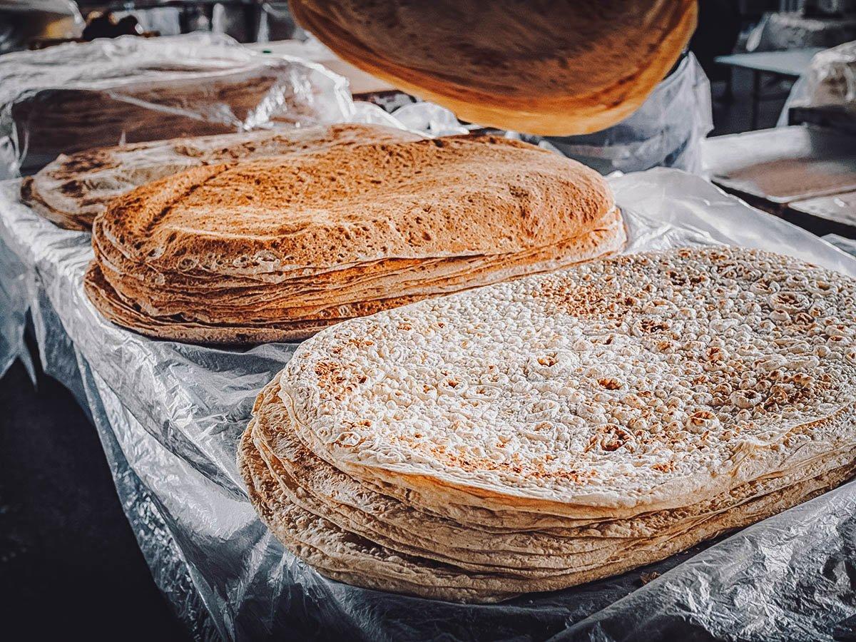 Stacks of lavash at a market