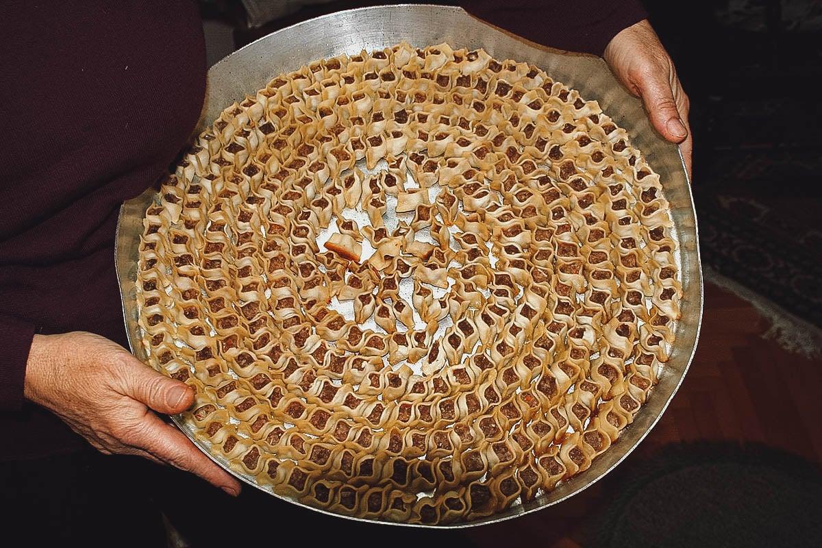Tray full of manti