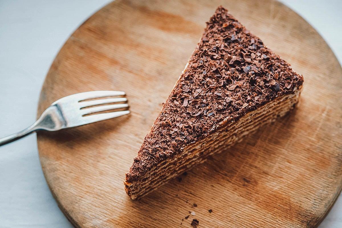 Slice of mikado cake