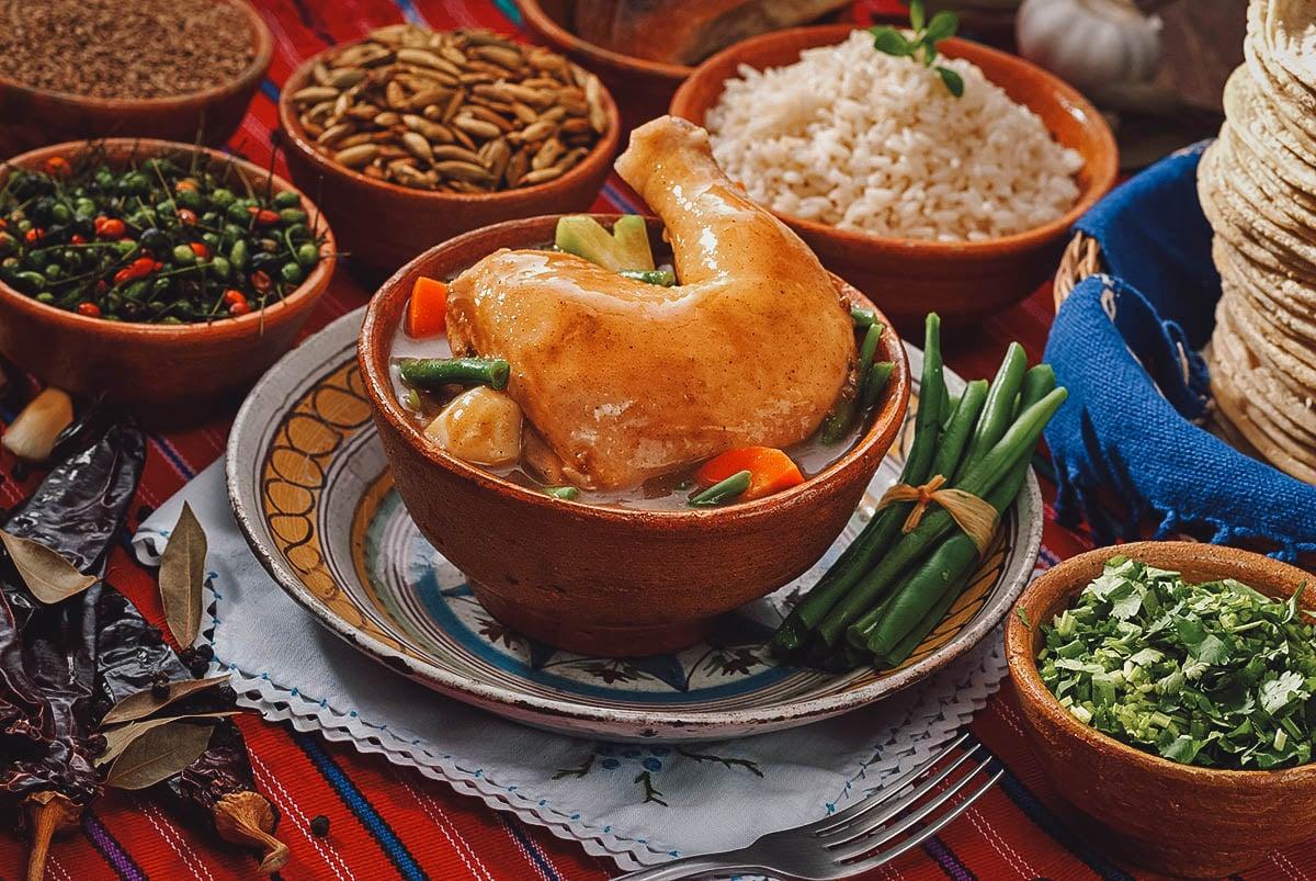 Pepian de indio with ingredients