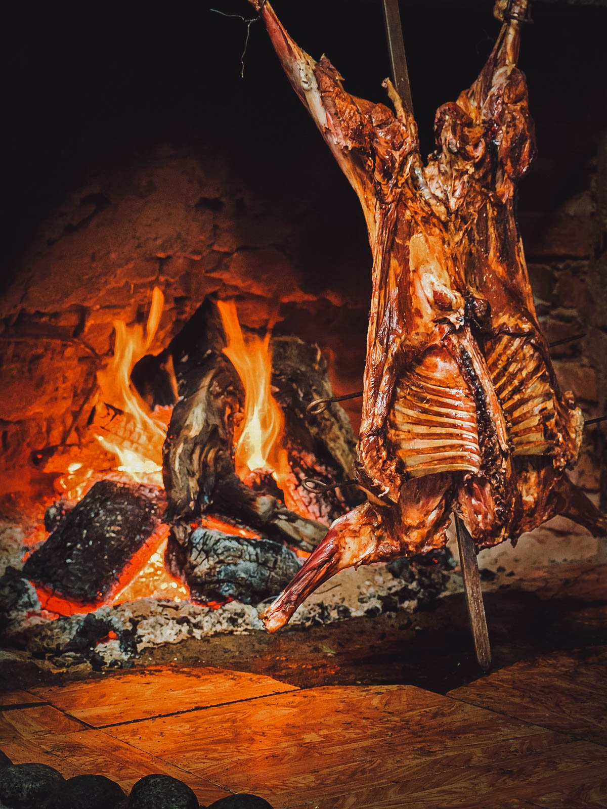 Cordero Patagonico, a roasted lamb meat dish popular in southern Argentina