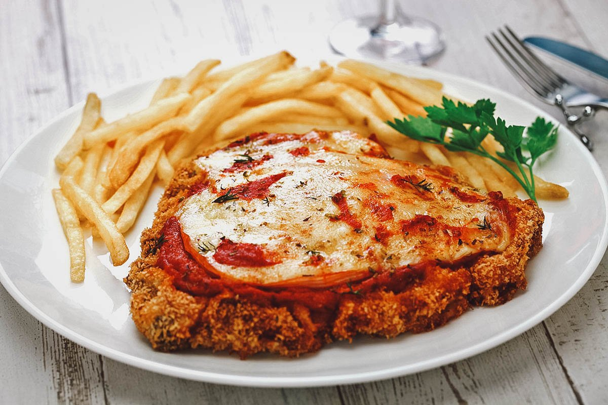 Milanesa with french fries, an Argentinian national dish