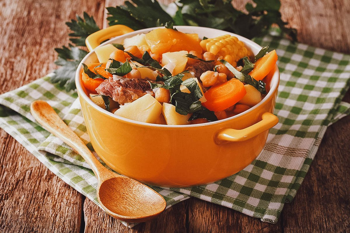 Bowl of puchero, a popular South American vegetable and meat dish