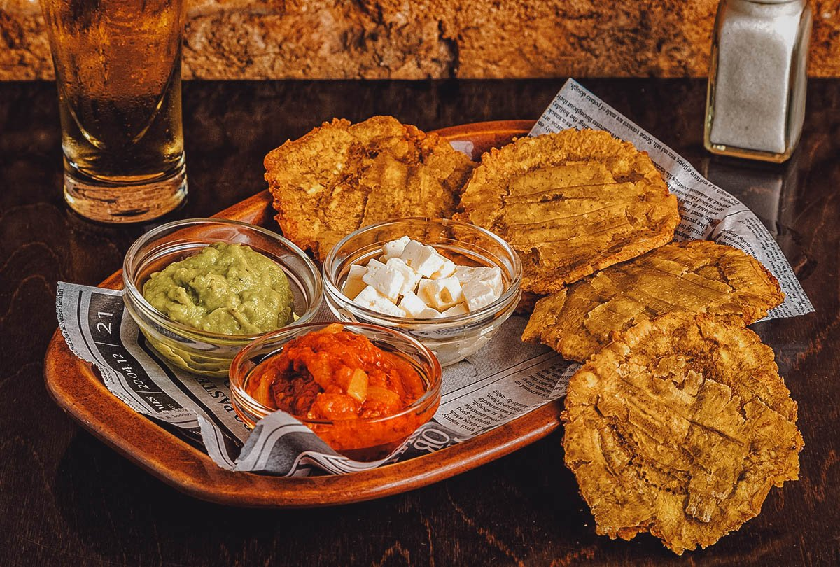 Plate of patacones with dips