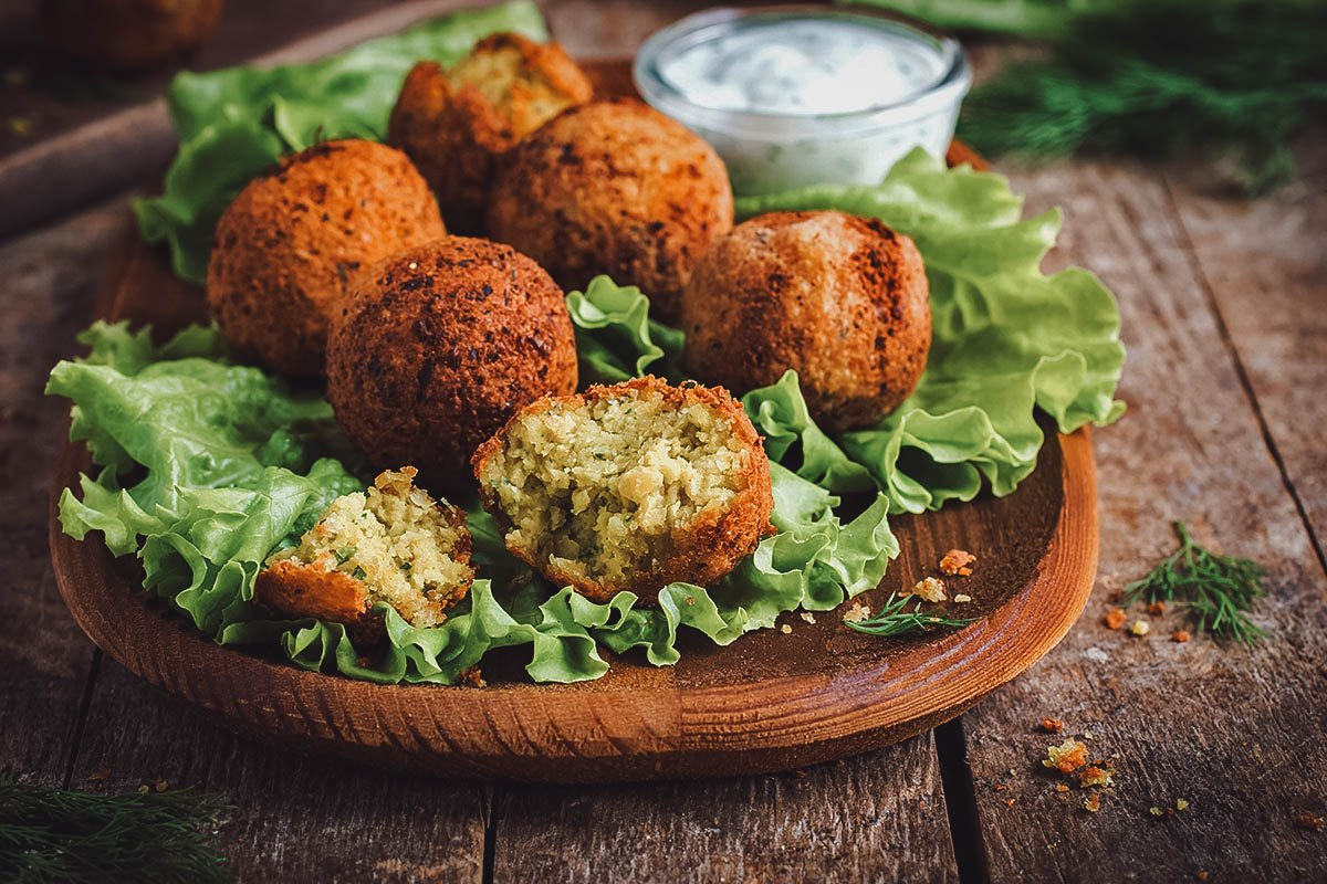 Balls of falafel, an Egyptian food staple and national dish made with fava beans