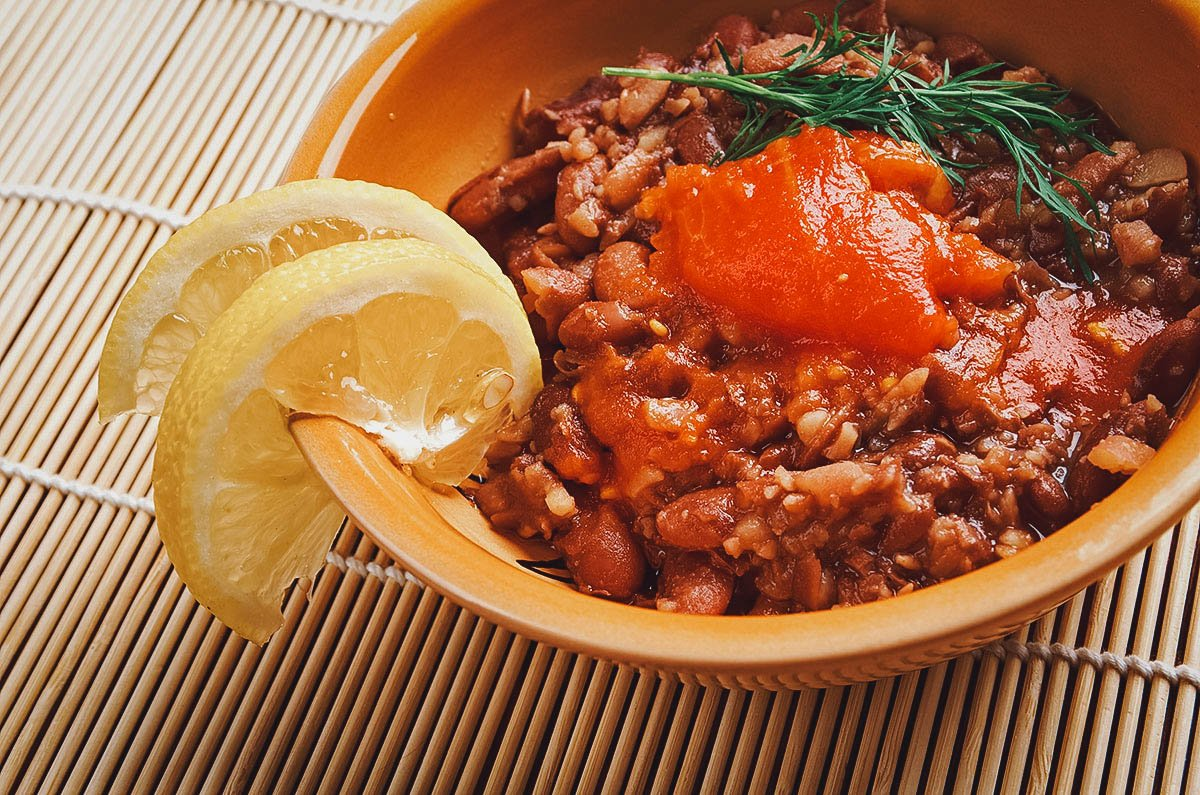 Bowl of ful medames, an Egyptian food staple and national dish made with fava beans