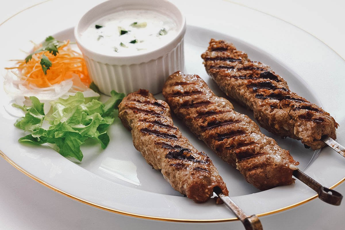 Skewers of kabab, a popular Egyptian meat dish