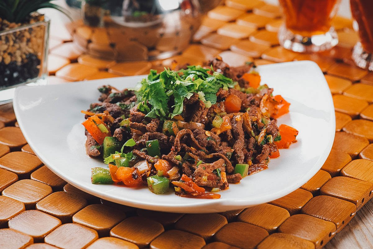 Plate of kebda or Egyptian beef liver