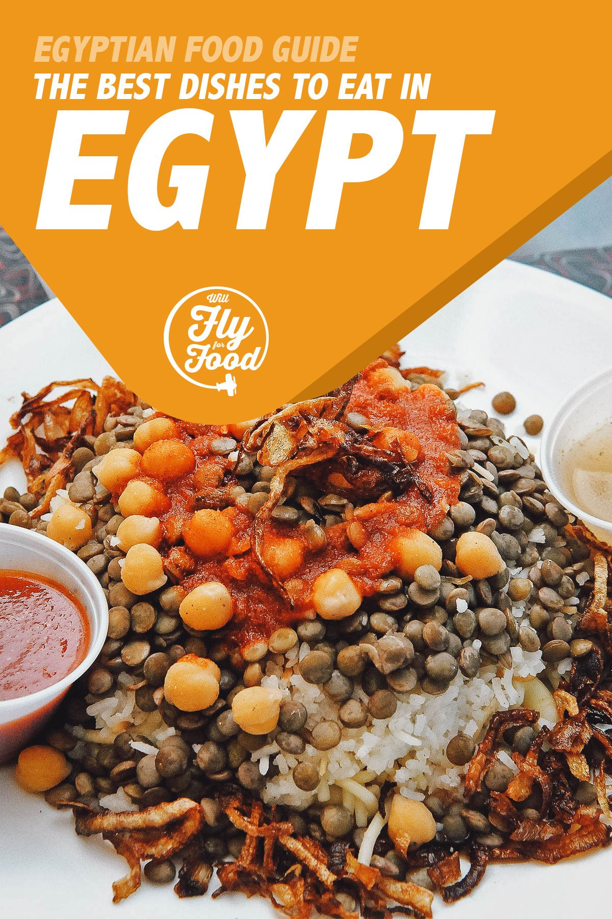 Kushari, an Egyptian food favorite made with lentils, fried onions, and tomato sauce