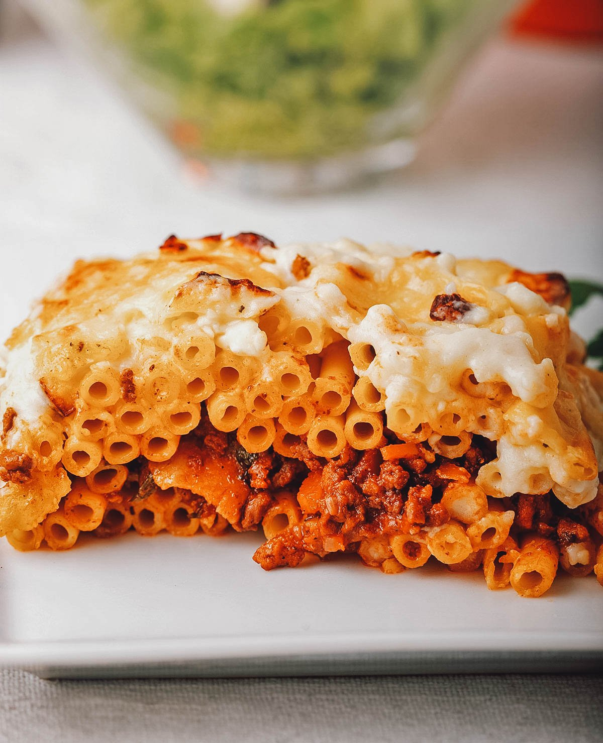 Macaroni bechamel with tomato sauce, one of the most popular and comforting Egyptian dishes