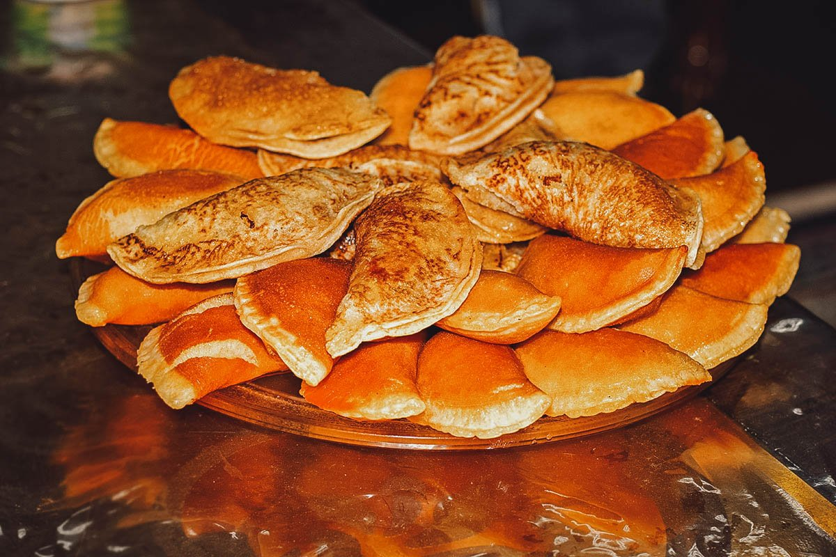 Stack of qatayef in Cairo, one of the most popular street foods in Egypt